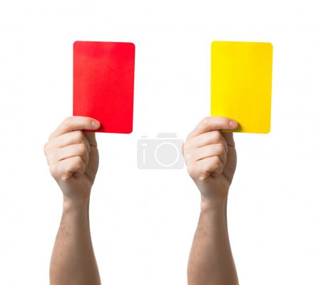 Soccer red and yellow card showing isolated