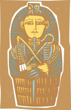 Woodcut Egyptian sarcophagus for a dead Pharaoh....