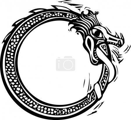 Illustration pour Image de style Woodcut du serpent nordique viking midgard - image libre de droit