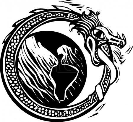 Illustration pour Image de style Woodcut du serpent nordique viking midgard qui entoure la terre - image libre de droit