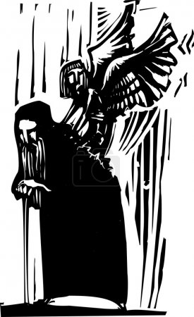 Illustration for Woodcut expressionist style image of a Young angel emerging from the back of an old man. - Royalty Free Image