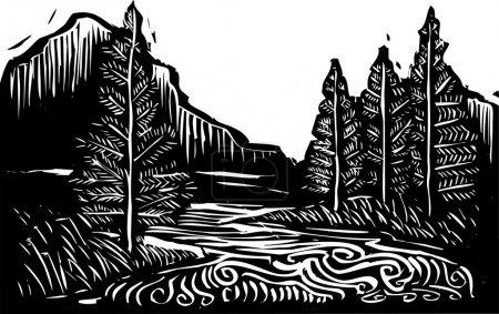 Holzschnittlandschaft