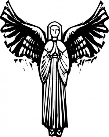 Illustration pour Ange de femme avec des ailes en prière dans une image de style de gravure sur bois - image libre de droit