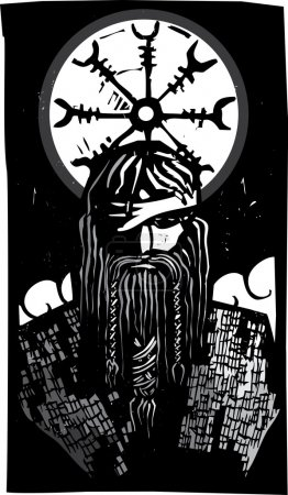 Woodcut style image of the Viking God Odin with wh...