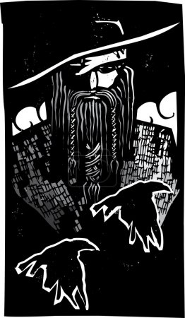 Woodcut style image of the Viking God Odin with tw...