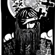 Woodcut style image of the Viking God Odin with Sp...