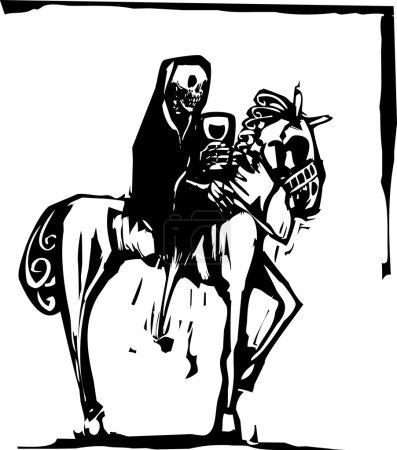 Tod trinkt Wein auf Pferd