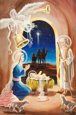 Photo pour Scène de crèche de Noël avec figurines, y compris Jésus, Marie, joseph, moutons et mages. - image libre de droit