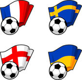 Set of world flags with soccer ball