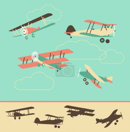 Illustration for Set of Retro Airplanes in color and silhouette - Royalty Free Image