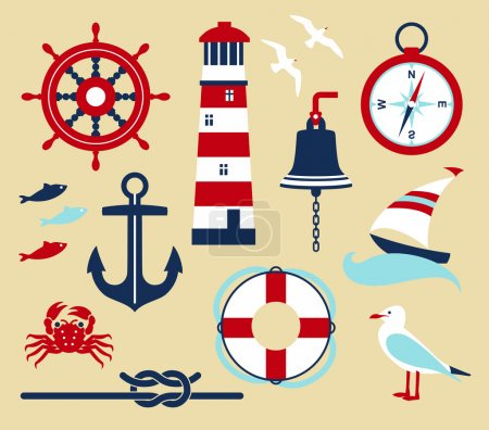 Illustration for Nautical elements in cartoon style - Royalty Free Image
