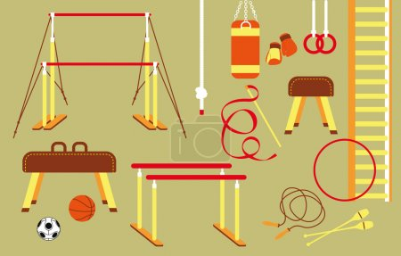 Group of different sports equipment