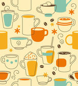 Seamless pattern with cups in retro-style