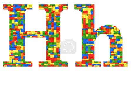 Buchstabe h aus Spielzeugsteinen in zufälligen Farben gebaut