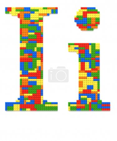 Letter I built from toy bricks in random colors