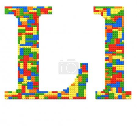 Photo pour Lettre L construite à partir de briques de jouets de couleurs aléatoires - image libre de droit