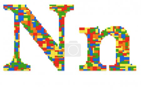 Letter N built from toy bricks in random colors