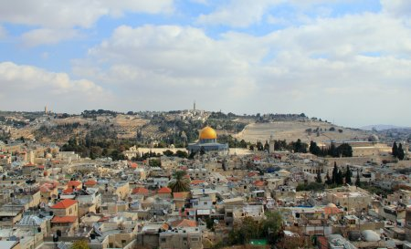 Old city of Jerusalem. Temple Mount: Dome on the Rock, Russian c