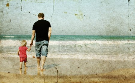 Photo for Father and daughter on the beach - Royalty Free Image