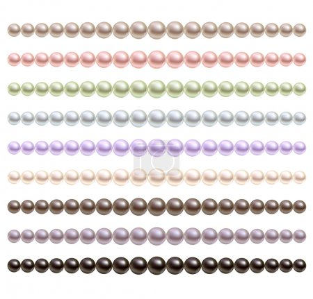 Pearls necklace of different colors.