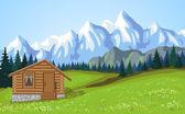 Mountain landscape vith wooden house