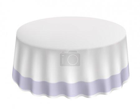 Photo pour Table ronde avec un tissu blanc isolé. Illustration vectorielle . - image libre de droit