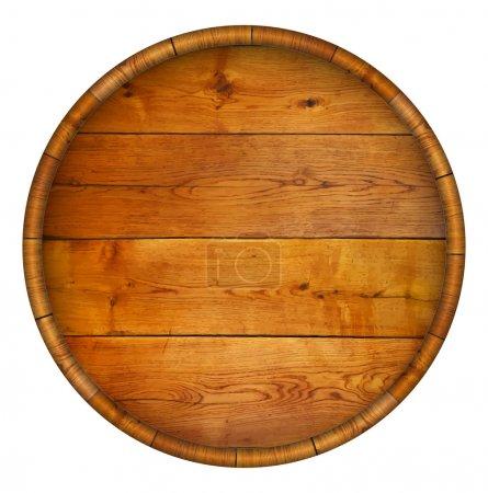 Round wooden barrel. Vector background....