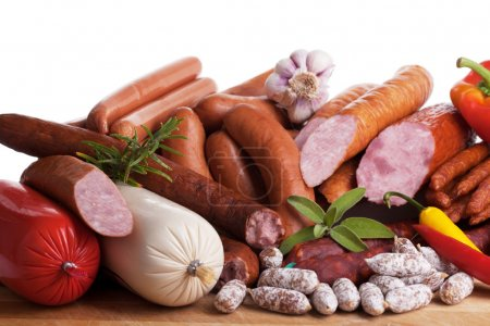 Assortment of cold meats, variety of processed col...