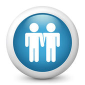 Vector blue glossy icon depicting gay union