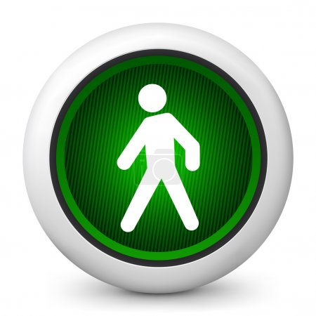 Illustration for Vector illustration of blue glossy icon depicting a pedestrian traffic light - Royalty Free Image