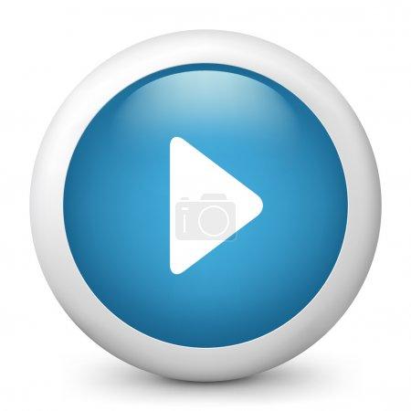 """Illustration pour Illustration vectorielle d'une icône brillante bleue représentant le bouton """"jouer"""" - image libre de droit"""