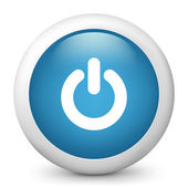 Vector blue glossy icon depicting power button
