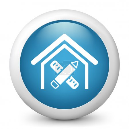 Vector blue glossy icon depicting measures for a flat