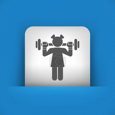 blue and gray icon depicting weightlifting