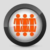 Vector illustration of a gray and orange icon depicting a global union