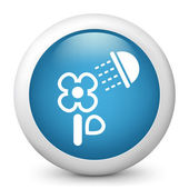 Vector glossy blue illustration icon depicting a flower