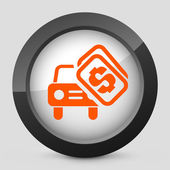 Vector illustration of a gray and orange icon depicting a automotive concept
