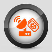 Vector illustration of a gray and orange icon depicting a satellite cost