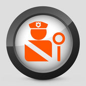 Vector illustration of a gray and orange police icon