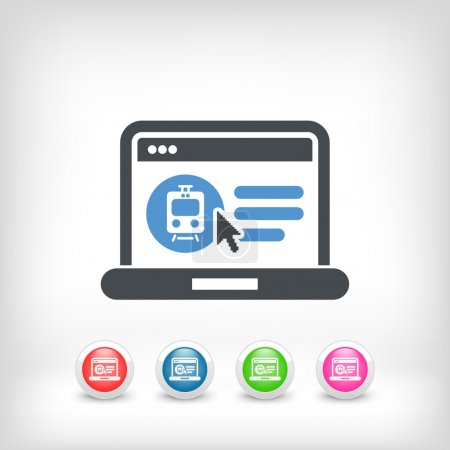 Illustration for Icon of booking train ticket on web agency - Royalty Free Image