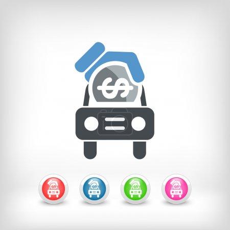 Illustration pour Icône argent voiture - image libre de droit