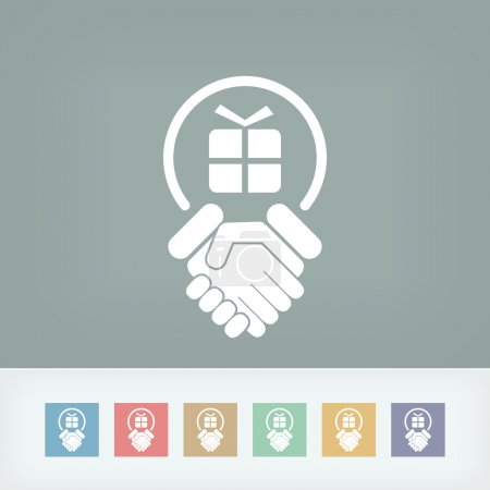 Illustration for Handshake for gift icon - Royalty Free Image