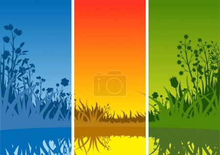 Illustration for Small Lake and Grass - Background Illustration, Vector - Royalty Free Image
