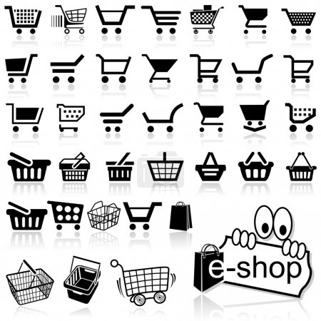 Shopping Cart Icon - Set of Black Icons, Vector Il...