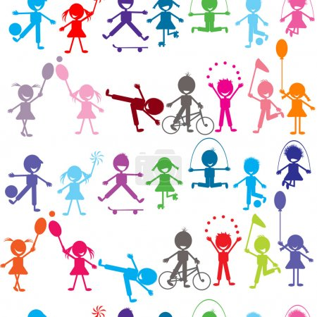 Photo for Seamless background with stylized colored kids playing - Royalty Free Image