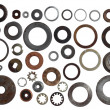 Set of old metal washers of the different size and...