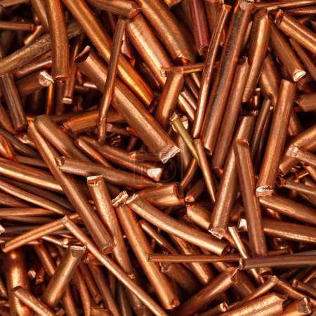 Copper wire is cut into pieces