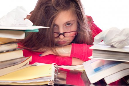 Girl Overwhelmed with School Work