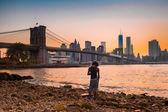 Brooklyn Bridge and Lower Manhattan Sunset