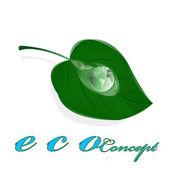 Zelené zdravé planety a list s drop water.ecology koncepce